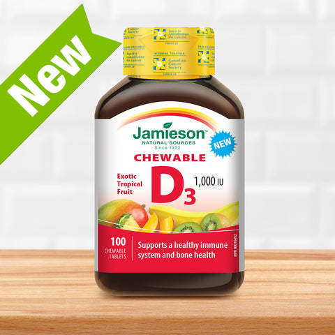 Vitamin D Chewable 1,000 IU - Natural Tropical Flavour