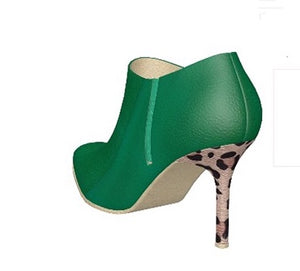 GREEN WITH ENVY Emerald Green Leather Ankle Boot w Leopard Hair Stiletto