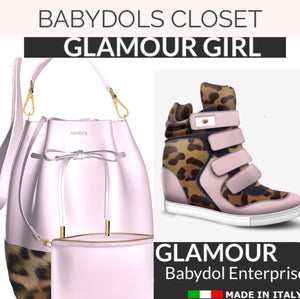 GLAMOUR GIRL Petal Pink Leather Bucket Bag w Leopard, & Matching Mini Leather Pouch (Petal Pink)