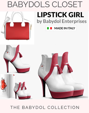 LIPSTICK GIRL White Leather w Lipstick Red Leather Ankle Boots