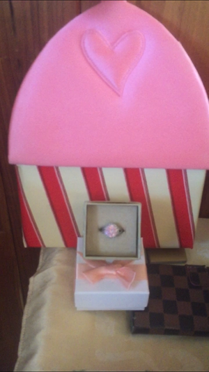 Mother's Day Special Genuine Pink 4ct. Sapphire Ring/Pink Satin Special Edition V.Secret Bag Set