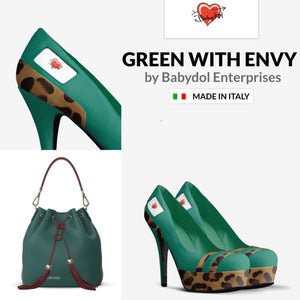 GREEN WITH ENVY Emerald Platform Pump w Leopard Hair Acc