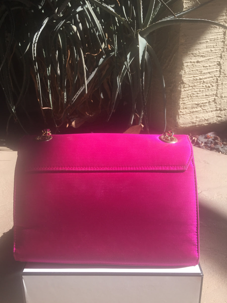 CHANEL Auth Rare Moire Silk Fuschia Bag, w Chain.