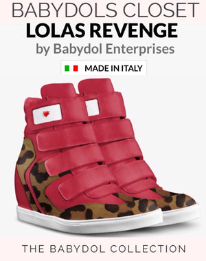 LOLAS REVENGE Red Leather Leopard Hi-Top Sports Sneaker