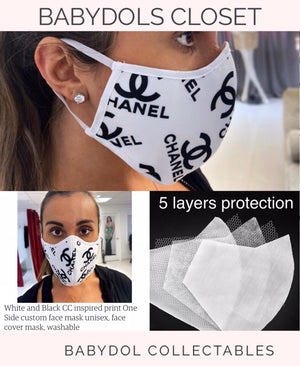 CHANEL White Protective Luxury Mask w Black Logos inspired