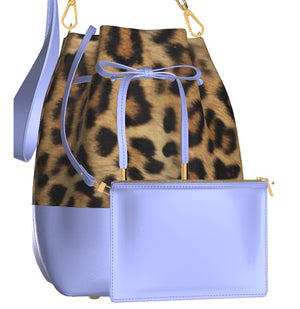 LA LA LILAC Leopard Leather Bucket Bag w Matching Cosmetic Case