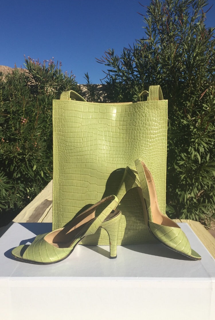 BLACK FRIDAY Special! Kiwi Croc Leather Pumps/Tote Set!