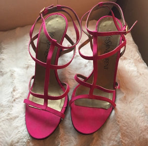 Yves Saint Laurent Silk Fuschia Sandal