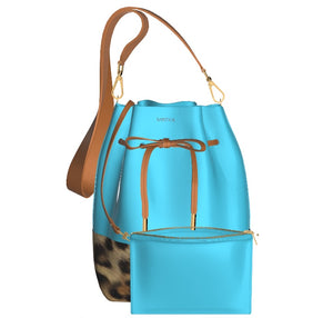 GLAMOUR GIRL Leather Bucket Bag w Leopard, & Matching Leather Mini Pouch (Turquoise)