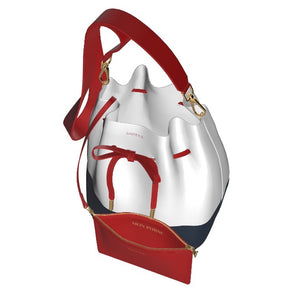 AMERICAN DOLL Leather Bucket Bag w Matching Leather Zip Mini Pouch