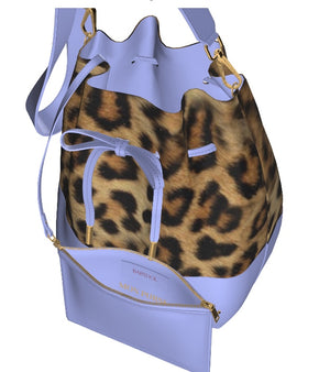LA LA LILAC Leopard Leather Bucket Bag w FREE Matching Cosmetic Case
