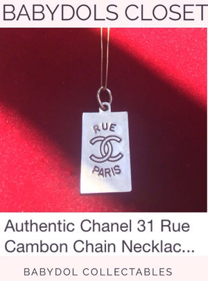 CHANEL AUTH Gold Rue de Cambon Paris Dog Tag Necklace w chain