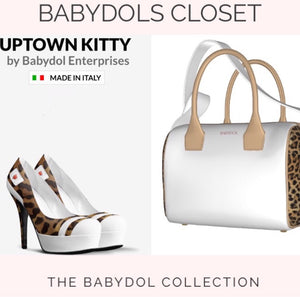 UPTOWN KITTY Leather Bowler Bag w Leopard