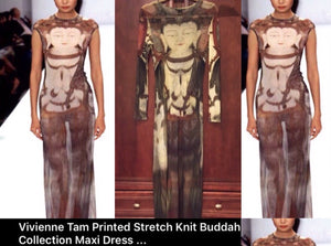VIVIENNE TAM Couture 'Long Nite Out' Rare Buddha Maxi Dress