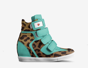 MINT COOKIE Ladies Mint Green Leather Hi Top Platform Sports Sneaker w Leopard Hair