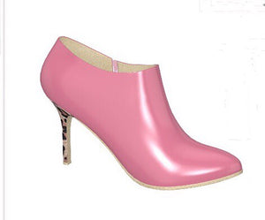 PINK FLAMINGO Patent Leather Ankle Boot with Leopard Stiletto Heel