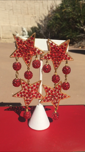 Valentines Day RED Jeweled Swarovski Bespoke Earrings