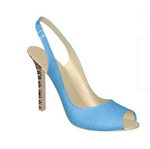 BLUE BERRY Leather T-Strap Pump w Leopard Stiletto