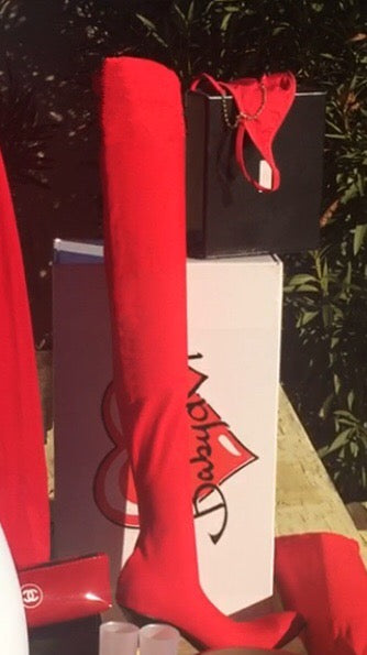 "Rare! Lipstick Red ""Billboard on Sunset"" Thigh-High Boots, 1-of-a-kind"