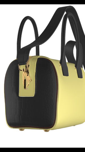 CHOC CROC KITTY Yellow Leather Bowler Bag with Chocolate Croccodile  Accents