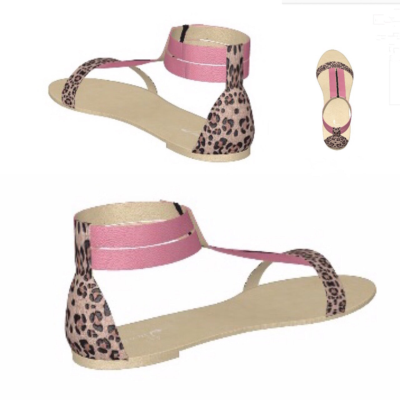 d8a47dfd83b77 PINK FLAMINGO Pink Patent Leather Flat Sandal with Leopard Heel ...