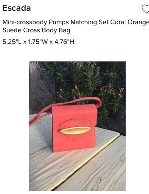 ESCADA Coral Suede Mini Crossbody Bag Rare