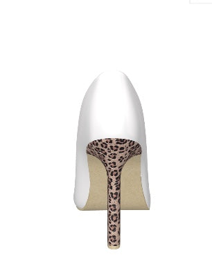 UPTOWN KITTY White Leather w Leopard Hair Stiletto