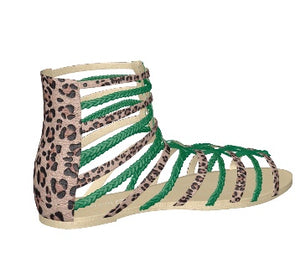 GREEN WITH ENVY Leopard Hair Gladiator Flat w Emerald Green Leather Accents