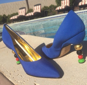 ANDREA PFISTER Couture Vintage Cobalt Blue Silk Abstract Heel Pump