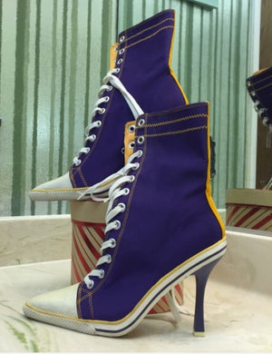 BABYDOL Couture Golden Needle Awards Purple LAKER-Like Leather High-Top Boots