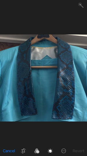 BABYDOL Couture Turquoise Leather w Teal Python Snakeskin 2pc Bolero Jacket/Mini Skirt