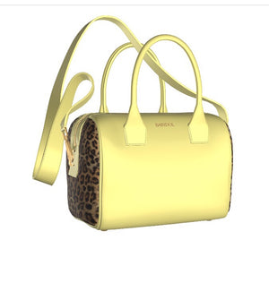 BUTTERCUP Buttercup Yellow Leather Bowler Bag with Leopard