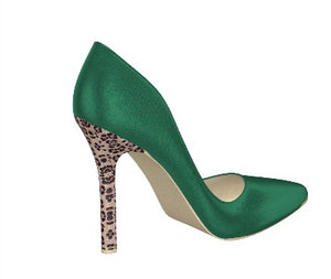 GREEN WITH ENVY Emerald Green Silk Pumps w Leopard Hair Stiletto Heel