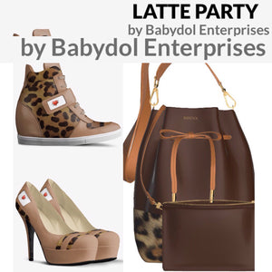 LATTE PARTY Leather Pump with Leopard accents.