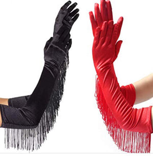 BABYDOL BILLBOARD on SUNSET Black Fringed Satin Opera Gloves