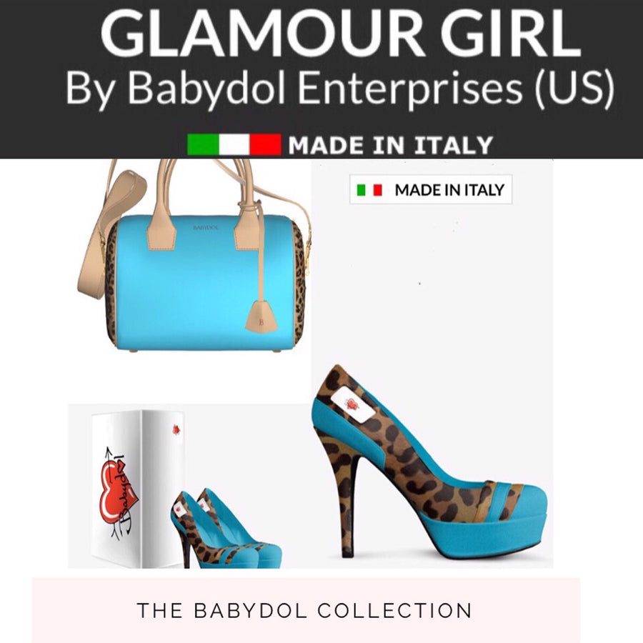 GLAMOUR GIRL Leather Platform (Turquoise) Pumps w Leopard