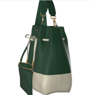 MOSTLY MOSSY Leather Bucket Bag with Mini Leather Pouch