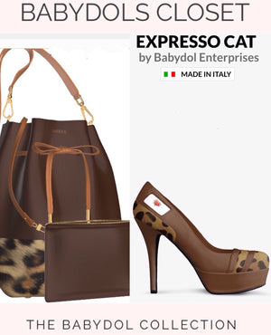 EXPRESSO CAT Expresso Brown Leather Leopard Bucket Bag w Mini Leather Cosmetic Case