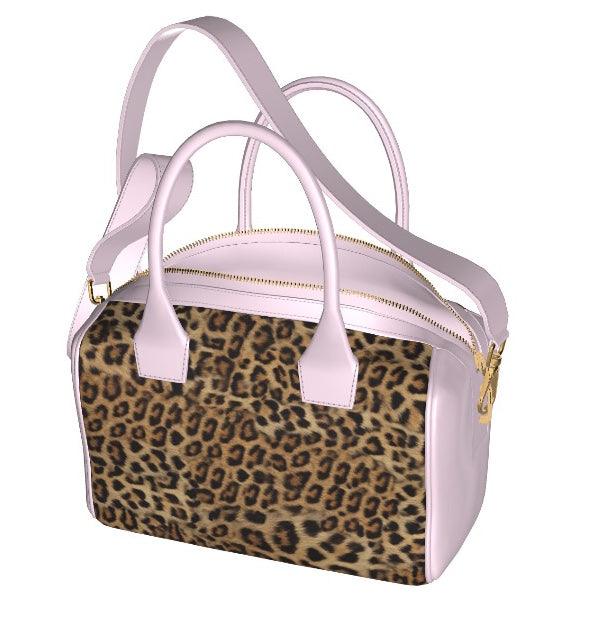 GLAMOUR GIRL Leopard Hair Bowler Bag w Baby Pink Leather Accents