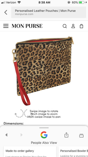 BITCH Leopard Gold Studded Clutch Bag with Red Leather Accent