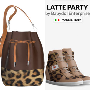 LATTE PARTY Leather Leopard Sports Shoe