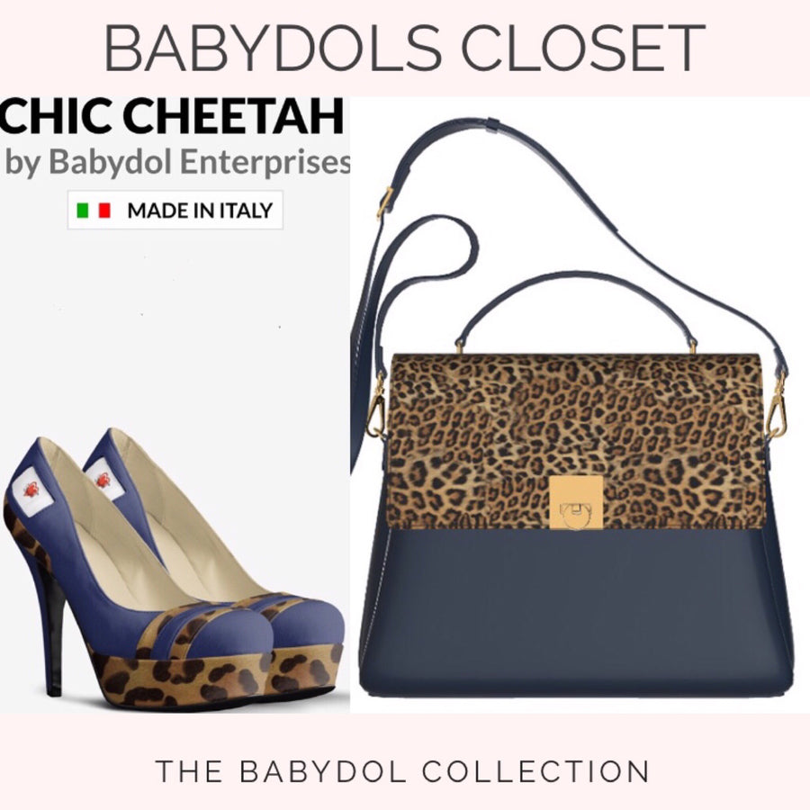 CHIC CHEETAH Navy Blue Leather Platform Pumps w Leopard Accents
