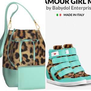 MINT COOKIE Leopard Hair w Mint Green Leather Bucket Bag w FREE Mint Leather Cosmetic Case