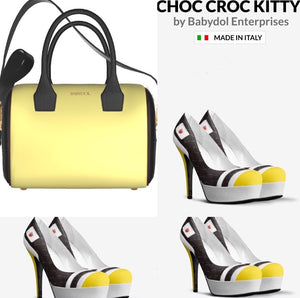 CHOC CROC KITTY Chocolate Brown Croccodile Pump with Yellow and White Leather