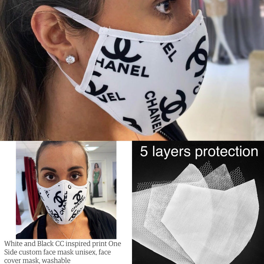 CHANEL Black Protective Luxury Mask w White Logos inspired