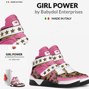 GIRL POWER Bubble Gum Pink Leather Leopard Fashion Sneaker