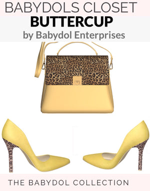 BUTTERCUP Butter Yellow Leather Top Handle Bag with Leopard