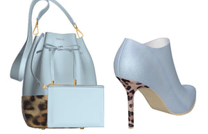BLUE ANGEL Ice Blue Leather Leopard Bucket Bag w Leather Mini Cosmetic Case