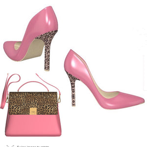 PINK FLAMINGO Patent Leather Pump with Leopard Stiletto High Heel