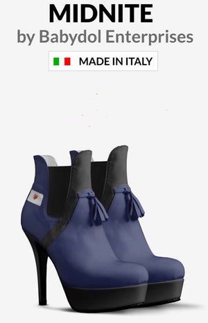 MIDNITE Navy Blue & Black Leather Ankle Boot